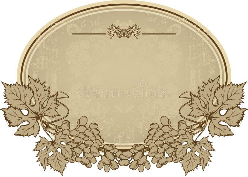 Etiqueta con las uvas, mano-dibujo. Illustrati del vector ilustración del vector