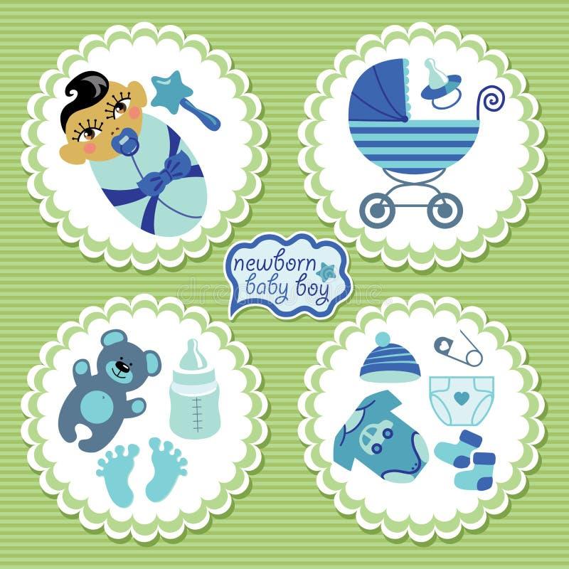 Etiqueta con los elementos para el bebé recién nacido asiático ilustración del vector
