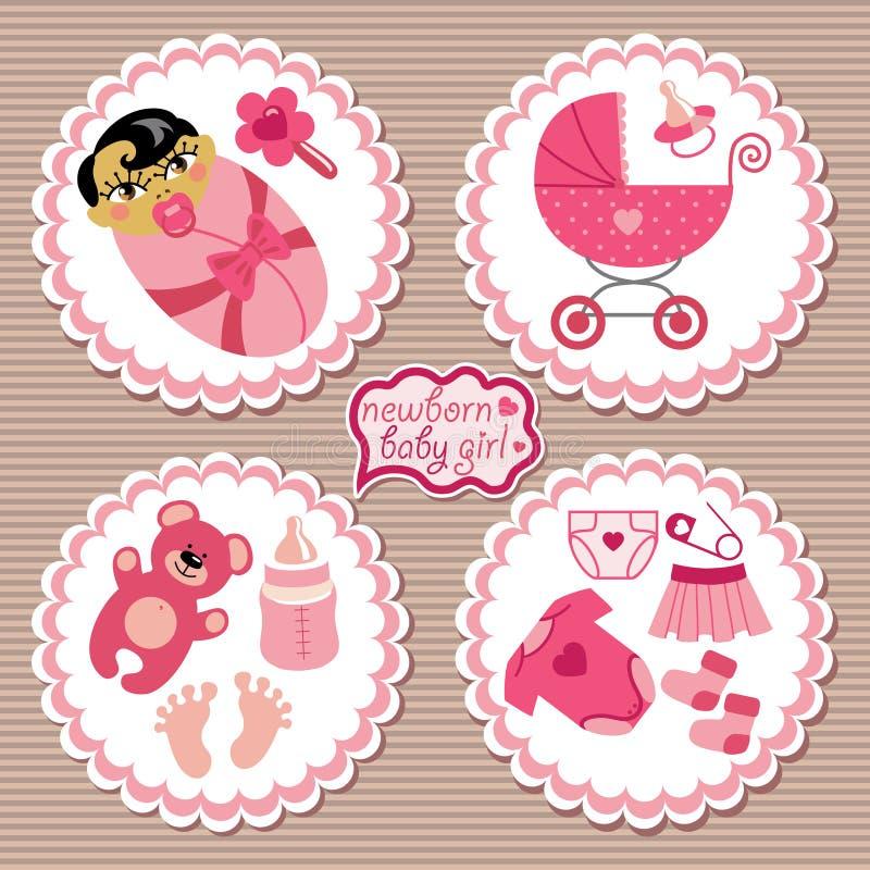 Etiqueta con los elementos para el bebé recién nacido asiático stock de ilustración