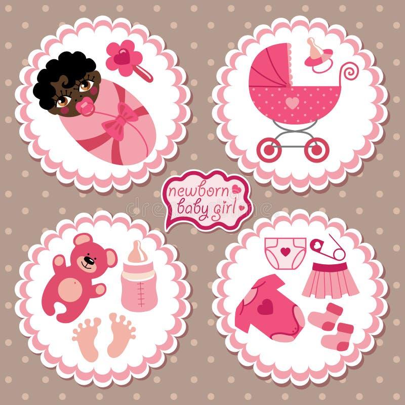 Etiqueta con los elementos para el bebé recién nacido del mulato libre illustration