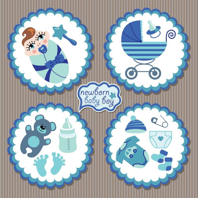 Etiqueta con los elementos para el bebé recién nacido europeo ilustración del vector