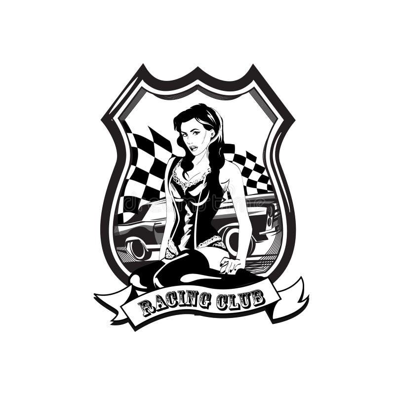 Etiqueta con una mujer, muestra retra del coche de competición del vintage del vector del deporte ilustración del vector