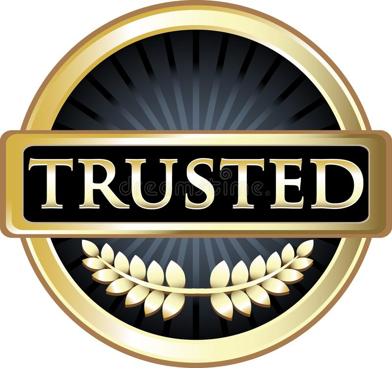 Etiqueta confiada do produto do preto e do ouro ilustração stock