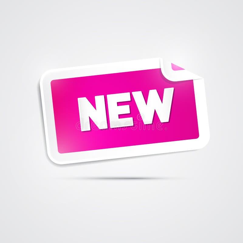 Etiqueta cor-de-rosa do vetor com título novo ilustração do vetor