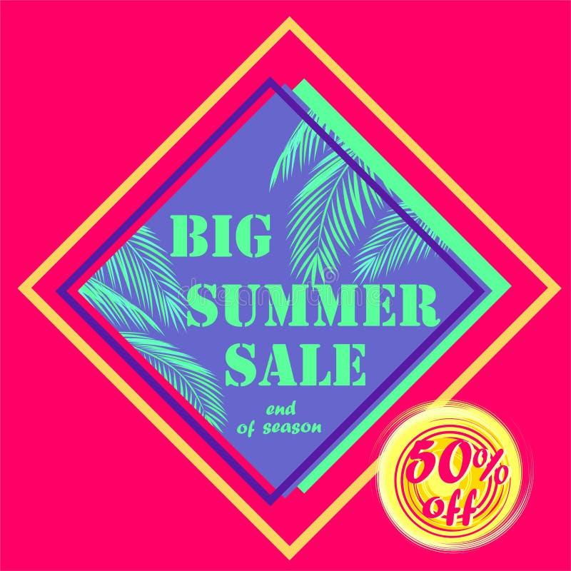 Etiqueta cor-de-rosa quente do desconto para a venda grande do verão com folhas de palmeira da cor da hortelã e para oferecer c ilustração do vetor