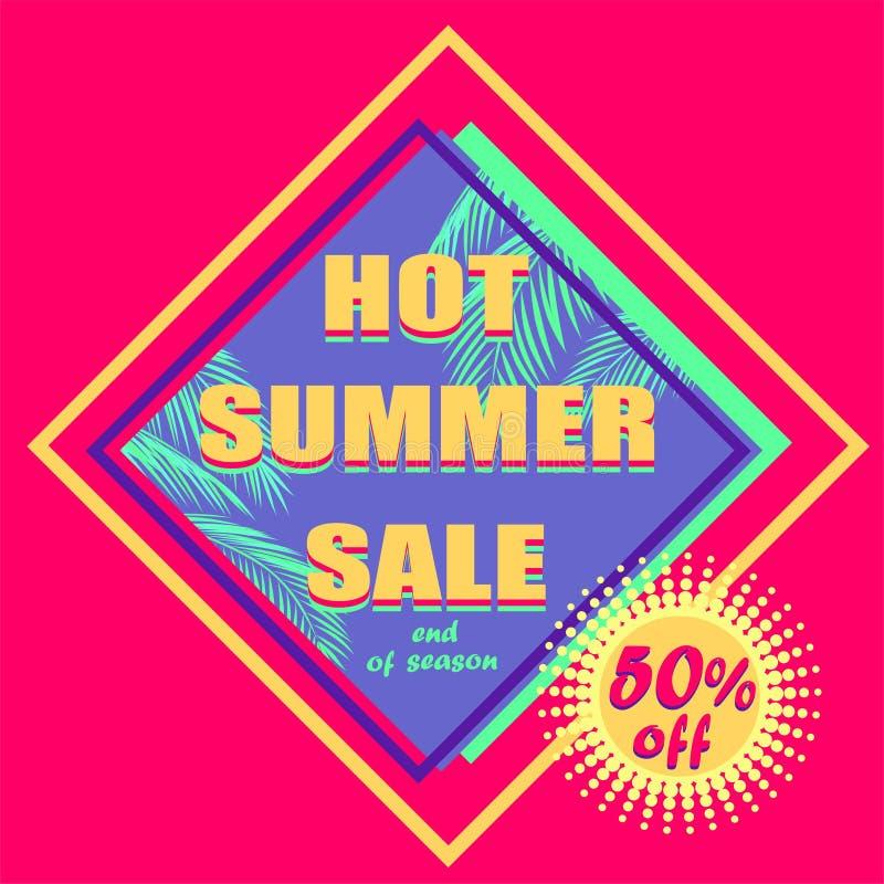 Etiqueta cor-de-rosa quente do desconto para a venda do verão com folhas de palmeira da cor da hortelã e para oferecer a etique ilustração stock