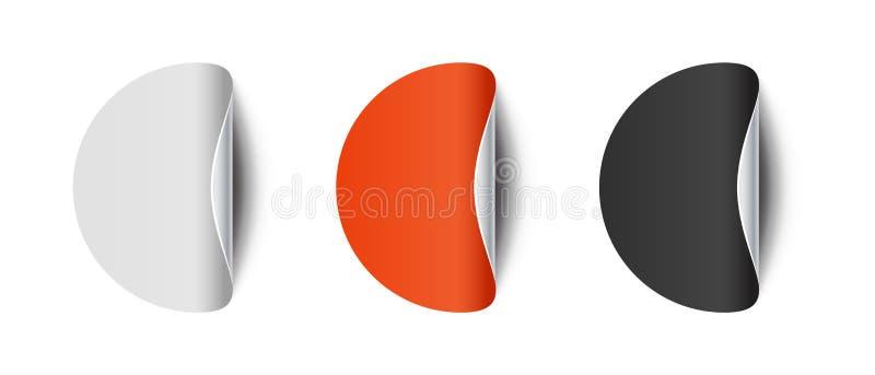 Etiqueta curvada redonda com o canto descascado - grupo do vetor - isolado no fundo branco ilustração stock