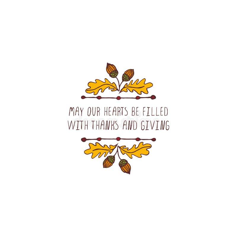 Etiqueta da ação de graças com texto no fundo branco ilustração stock
