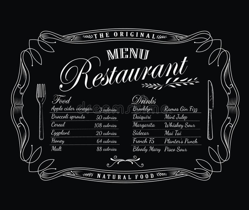 Etiqueta da antiguidade do quadro do vintage do quadro-negro do menu do restaurante ilustração do vetor