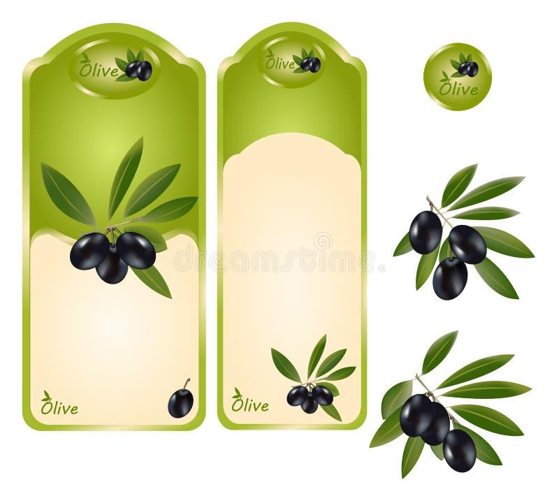 Etiqueta da azeitona preta ilustração stock