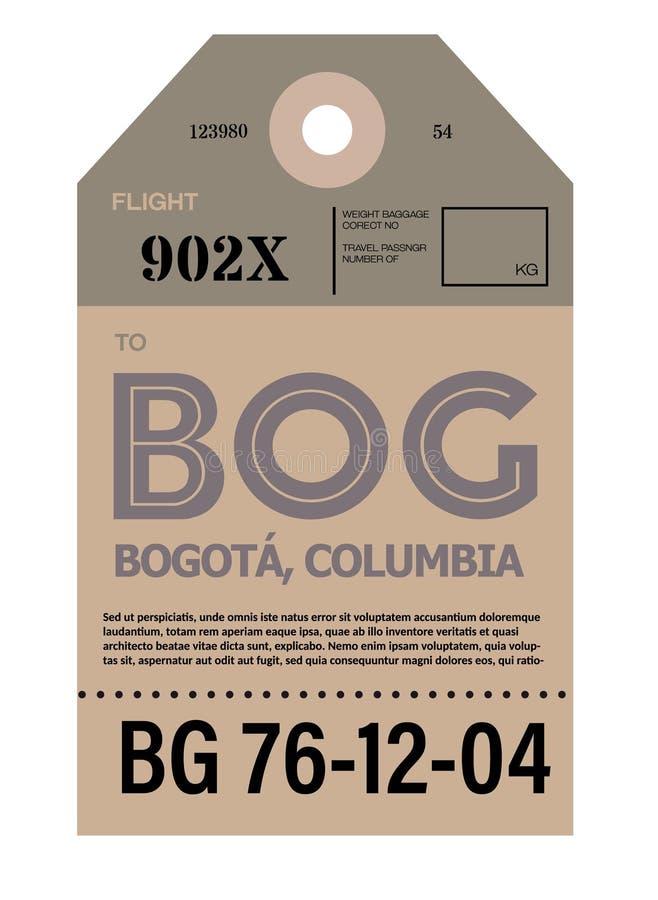 Etiqueta da bagagem do aeroporto de Bogotá ilustração stock