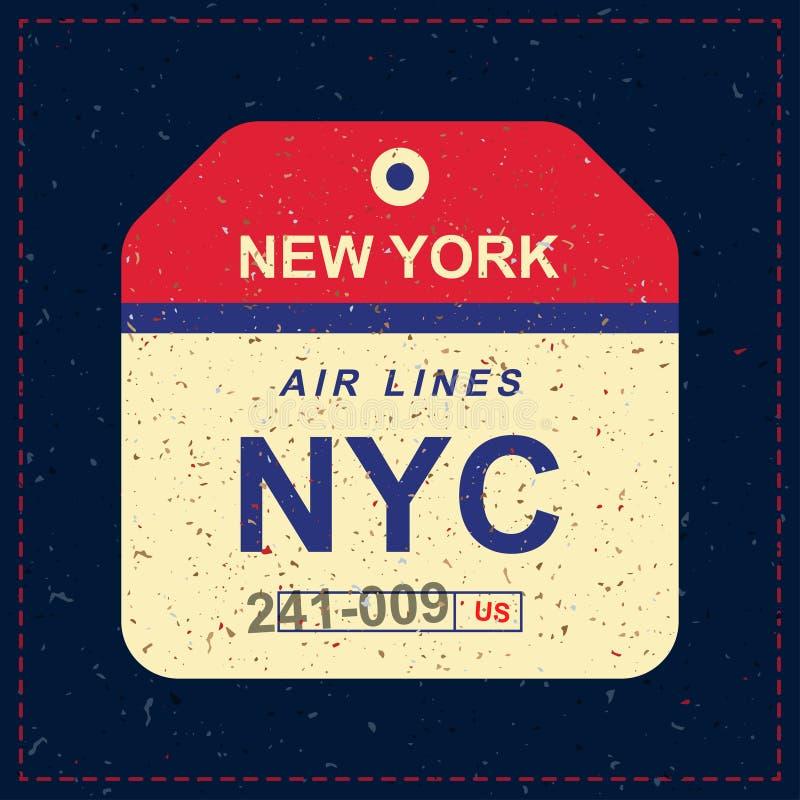 Etiqueta da bagagem do vintage com textura velha do grunge Etiqueta para o aeroporto Ilustração lisa EPS 10 do vetor ilustração royalty free