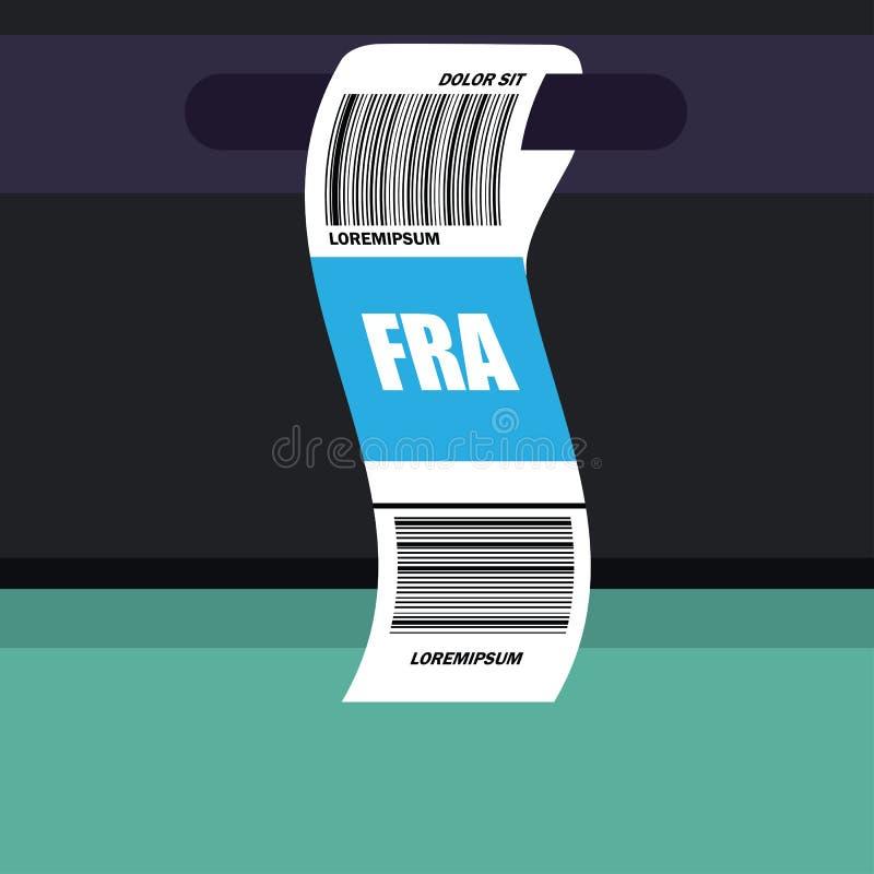 Etiqueta da etiqueta da bagagem na mala de viagem com código e código de barras de país de Francoforte Alemanha ilustração do vetor