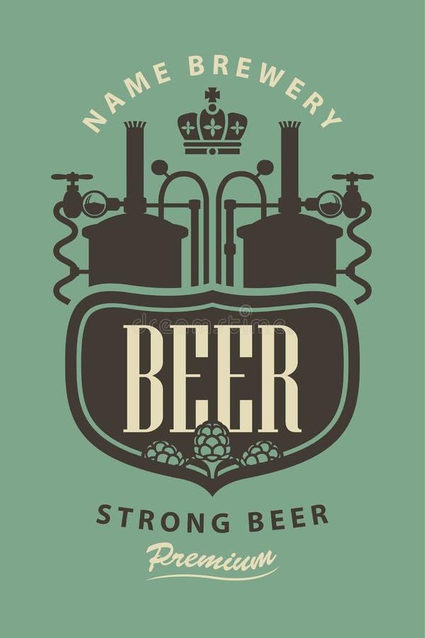 Etiqueta da cerveja com a imagem da cervejaria e dos lúpulos ilustração royalty free