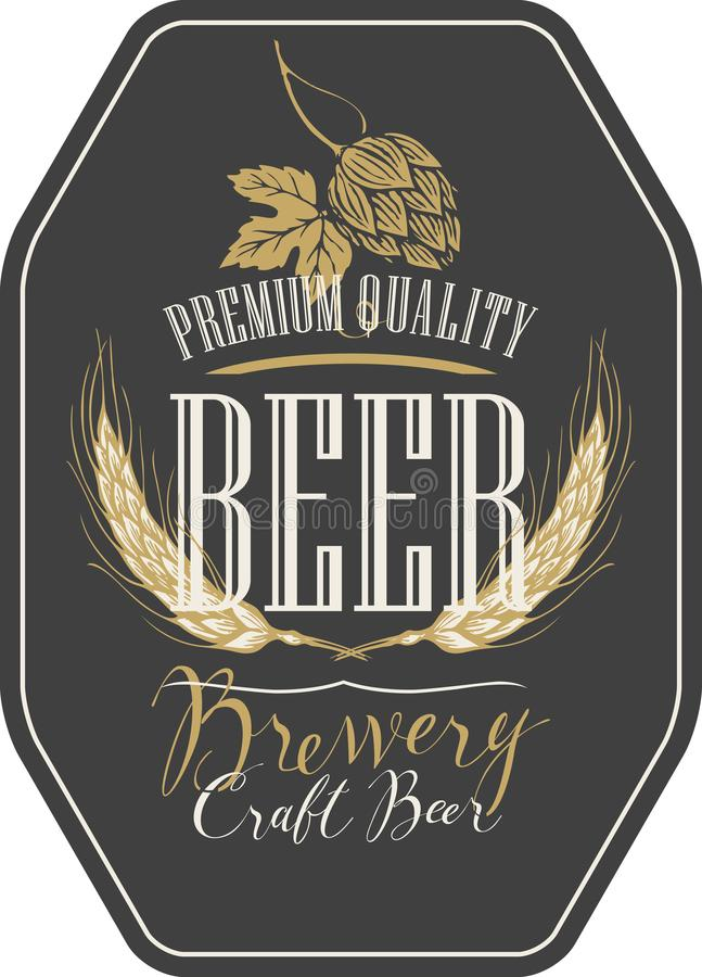 Etiqueta da cerveja com orelhas, lúpulos e inscrição do trigo ilustração do vetor