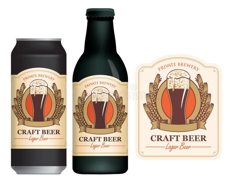 Etiqueta da cerveja do vetor na lata e na garrafa de cerveja ilustração do vetor