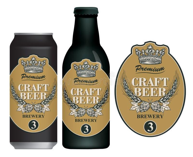 Etiqueta da cerveja do vetor na lata e na garrafa de cerveja ilustração royalty free