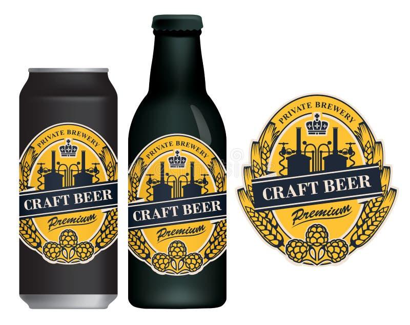 Etiqueta da cerveja do vetor na lata e na garrafa de cerveja ilustração stock