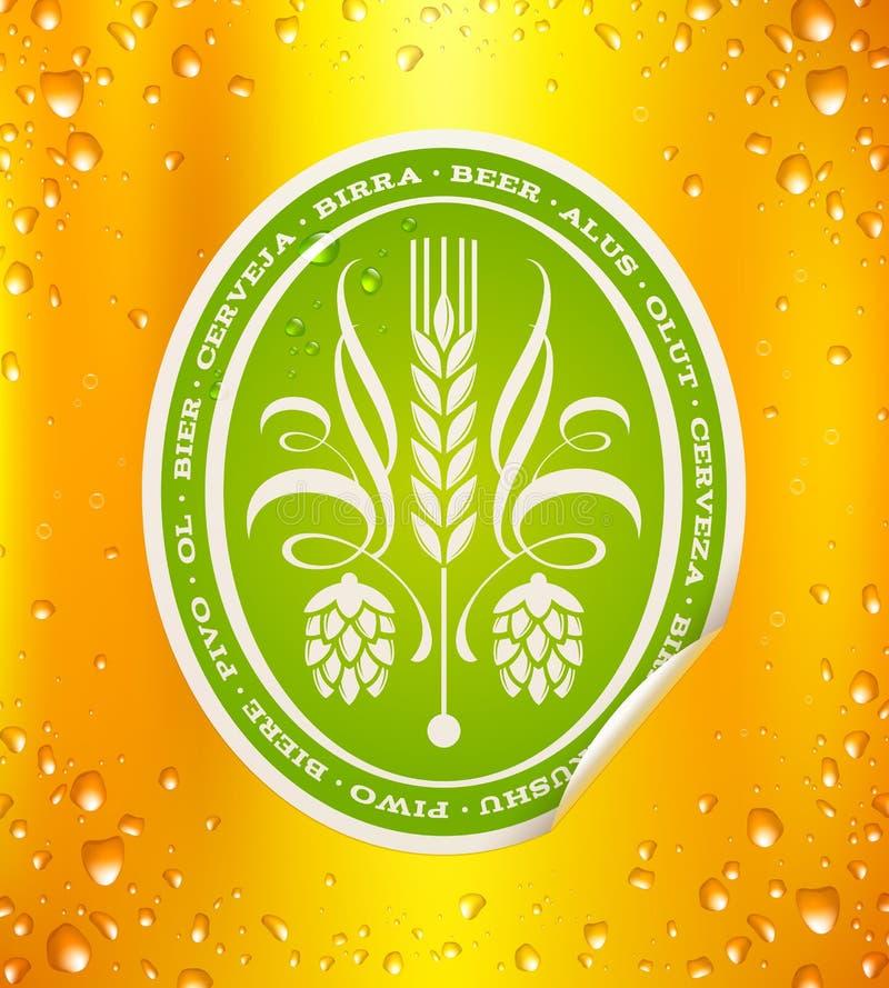 Etiqueta da cerveja no fundo da cerveja ilustração stock