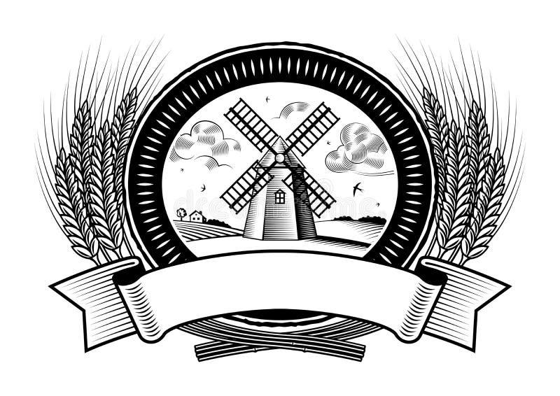 Etiqueta da colheita do cereal preto e branco ilustração do vetor