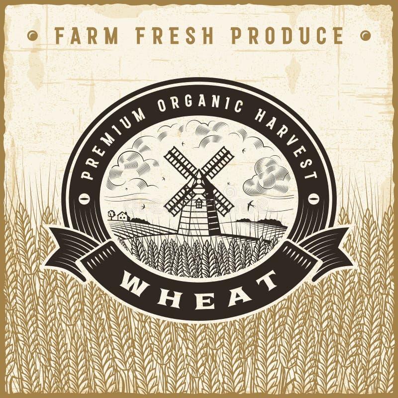 Etiqueta da colheita do trigo do vintage ilustração do vetor
