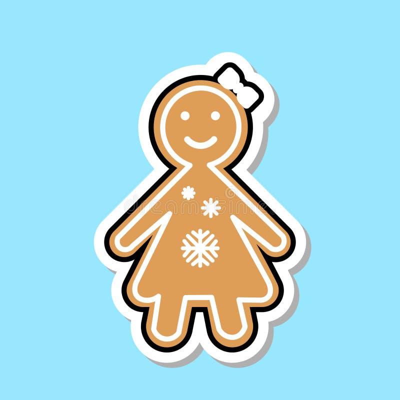 Etiqueta da cookie do Natal de Ginger Bread Girl Icon Cute isolada ilustração do vetor