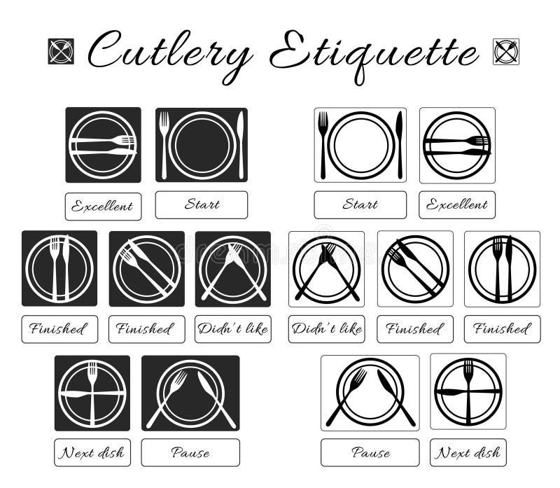 Etiqueta da cutelaria Etiqueta da tabela Grupo de comer ícones da etiqueta dos utensílios Regras e maneiras comer do alimento Man ilustração royalty free