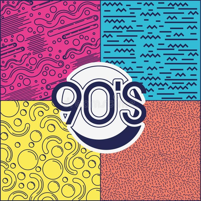 etiqueta da década 90s retro ilustração stock