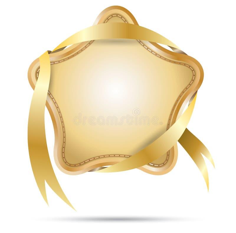Etiqueta da estrela com fita ilustração do vetor