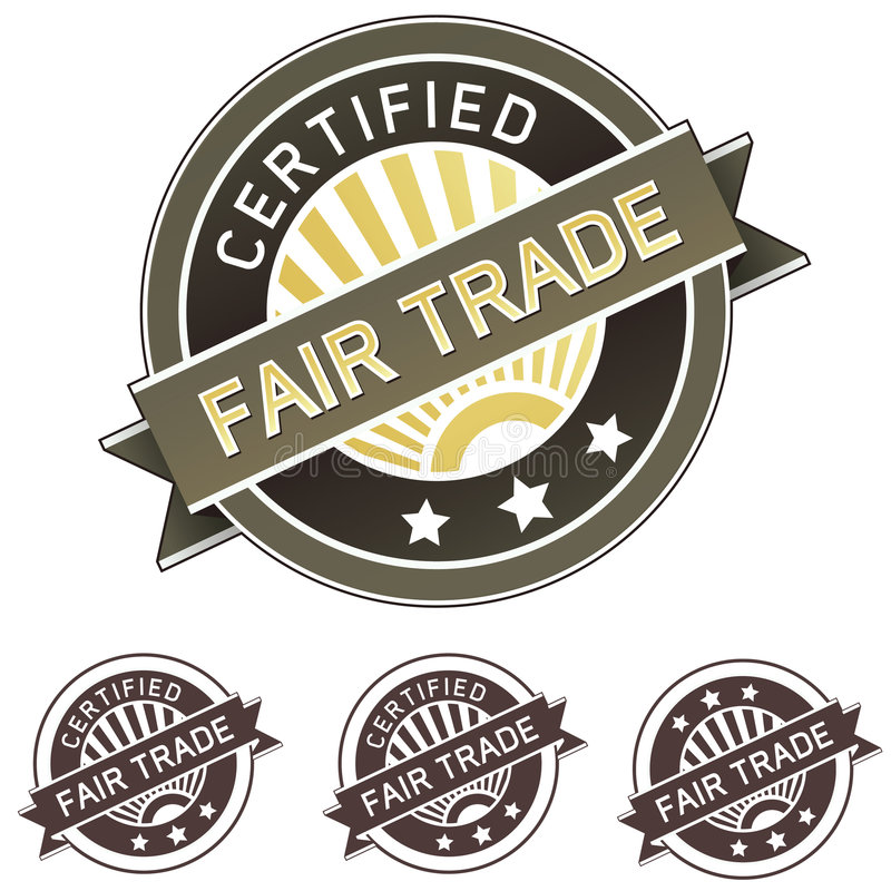 Etiqueta da etiqueta do produto do comércio justo ilustração do vetor
