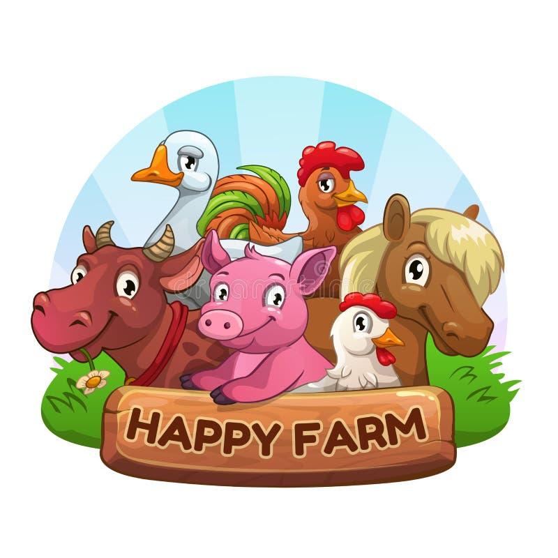 Etiqueta da exploração agrícola engraçada ilustração royalty free