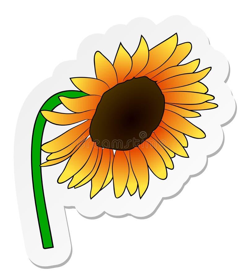 Etiqueta da flor alaranjada do girassol no estilo liso dos desenhos animados isolada no fundo branco ilustração do vetor