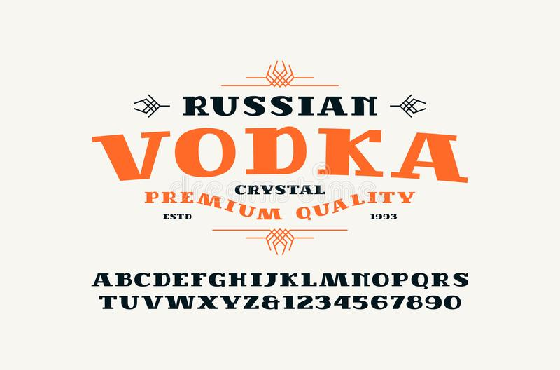 Etiqueta da fonte e da vodca do Serif ilustração stock