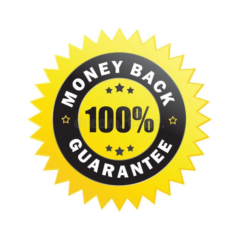 Etiqueta da garantia da parte traseira do dinheiro ilustração royalty free