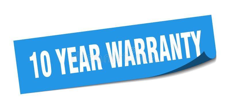etiqueta da garantia de 10 anos sinal isolado garantia de 10 anos garantia de 10 anos ilustração do vetor