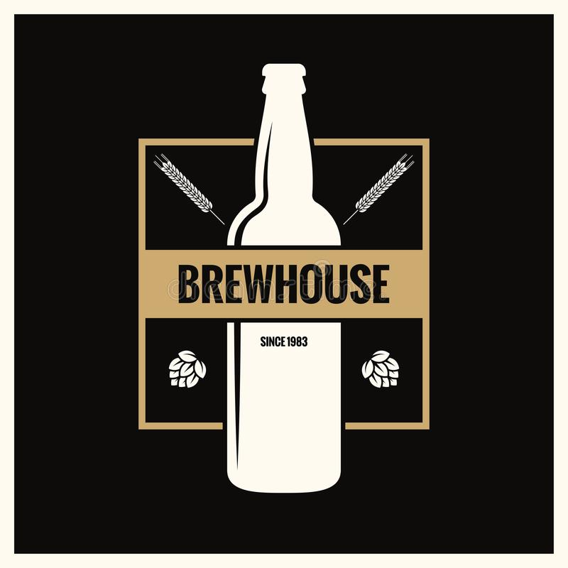 Etiqueta da garrafa de cerveja Logotipo do vintage da fermentação no fundo preto ilustração royalty free