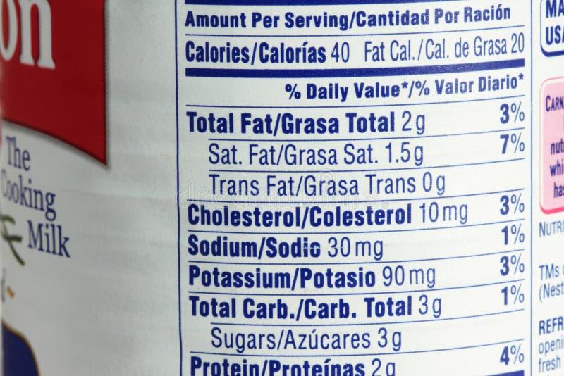 Etiqueta da nutrição imagem de stock royalty free