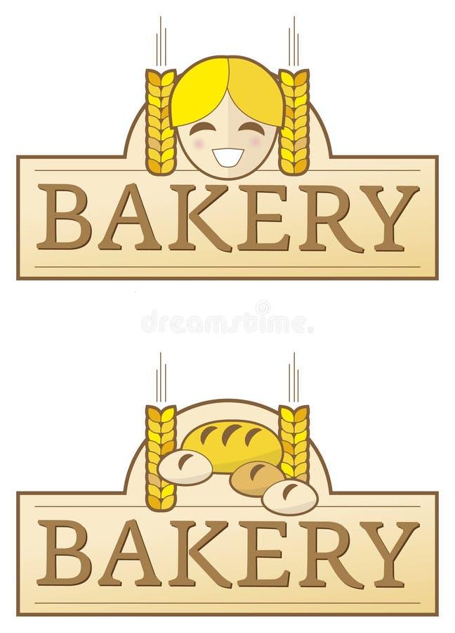 Etiqueta da padaria com menina ilustração stock