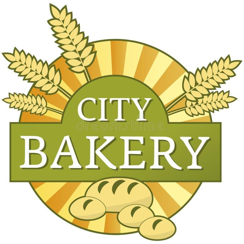 Etiqueta da padaria da cidade ilustração royalty free