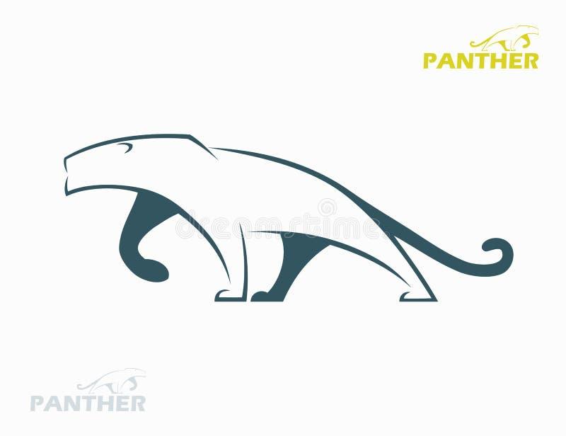 Etiqueta da pantera ilustração royalty free