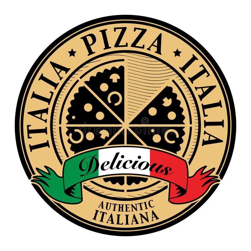 Etiqueta da pizza de Italia ilustração royalty free