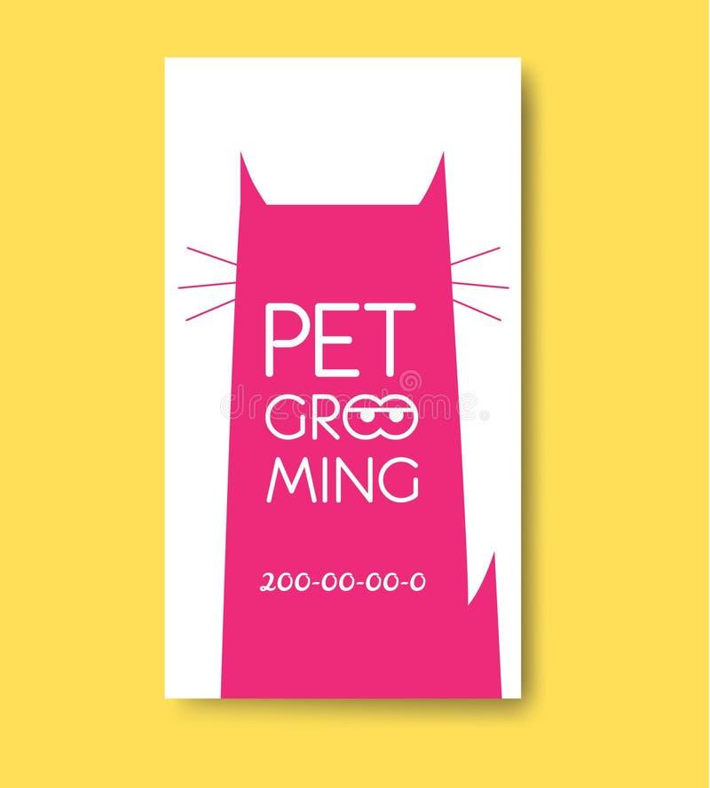 Etiqueta da preparação do animal de estimação com silhueta do gato Os cuidados dos animais de estimação prestam serviços de manut ilustração stock