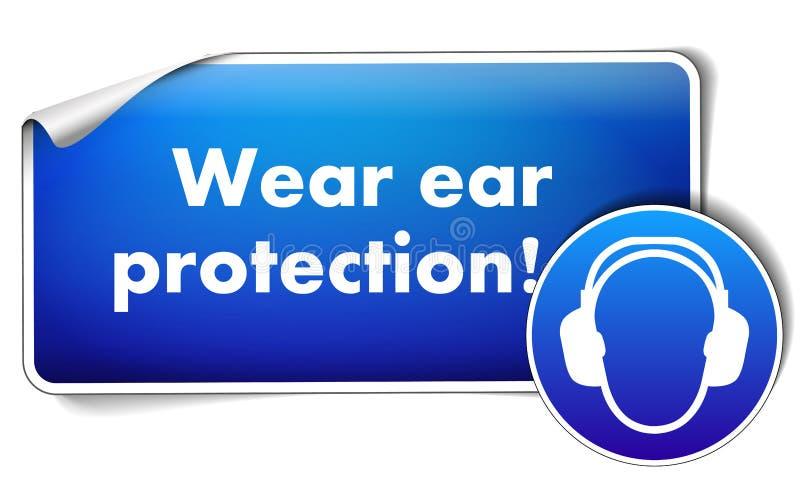 Etiqueta da proteção de orelha do desgaste com o sinal imperativo isolado no fundo branco ilustração royalty free