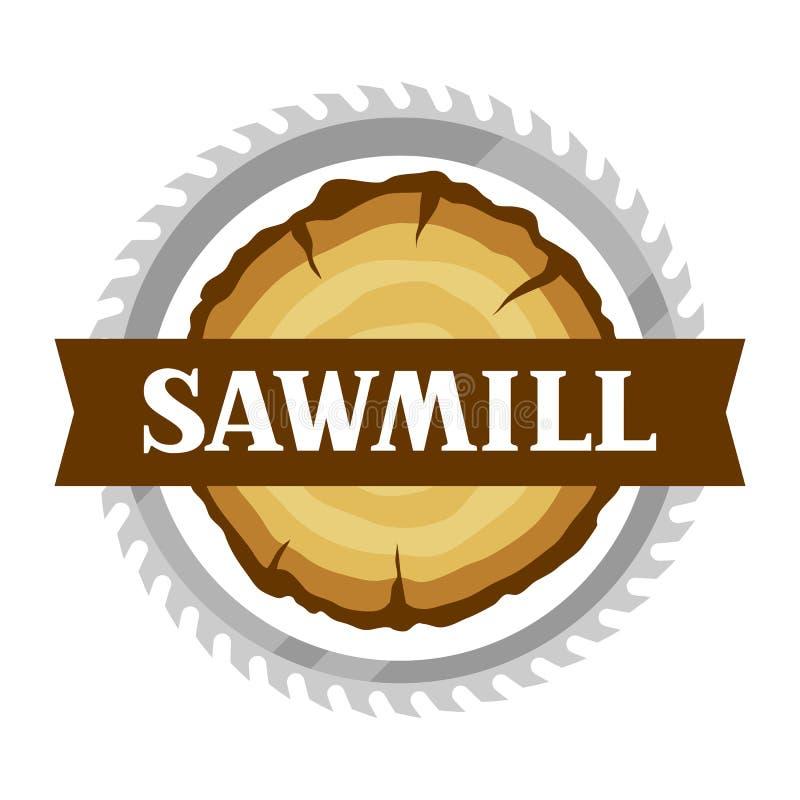 Etiqueta da serração com coto e a serra de madeira Emblema para a silvicultura e a indústria da madeira serrada ilustração stock