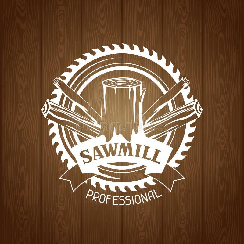 Etiqueta da serração com coto e a serra de madeira Emblema para a silvicultura e a indústria da madeira serrada ilustração do vetor