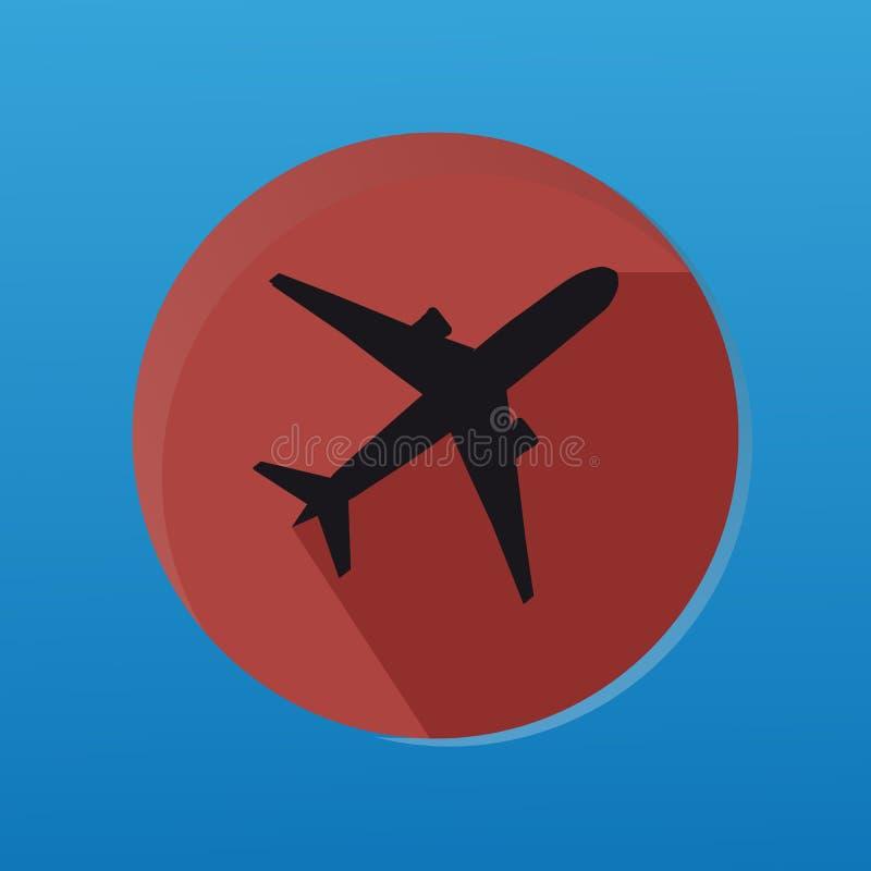 Etiqueta da silhueta do avião com botão liso ilustração do vetor