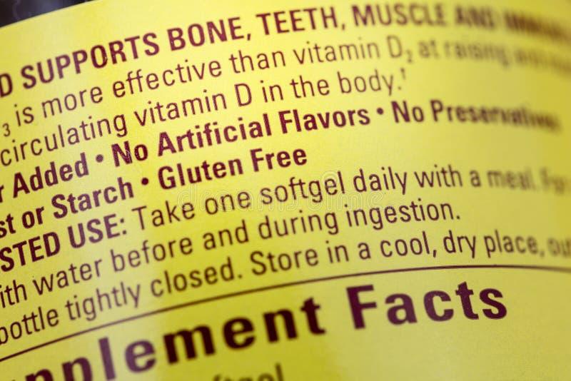 Etiqueta da tabuleta do softgel do suplemento à vitamina d3 fotos de stock