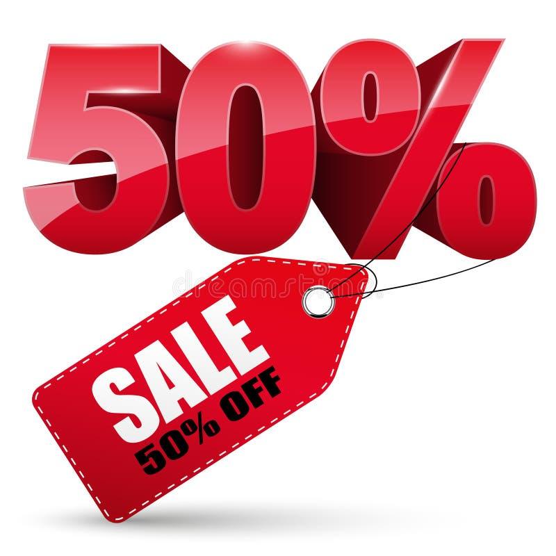 etiqueta da venda 3d, 50 por cento fora ilustração royalty free