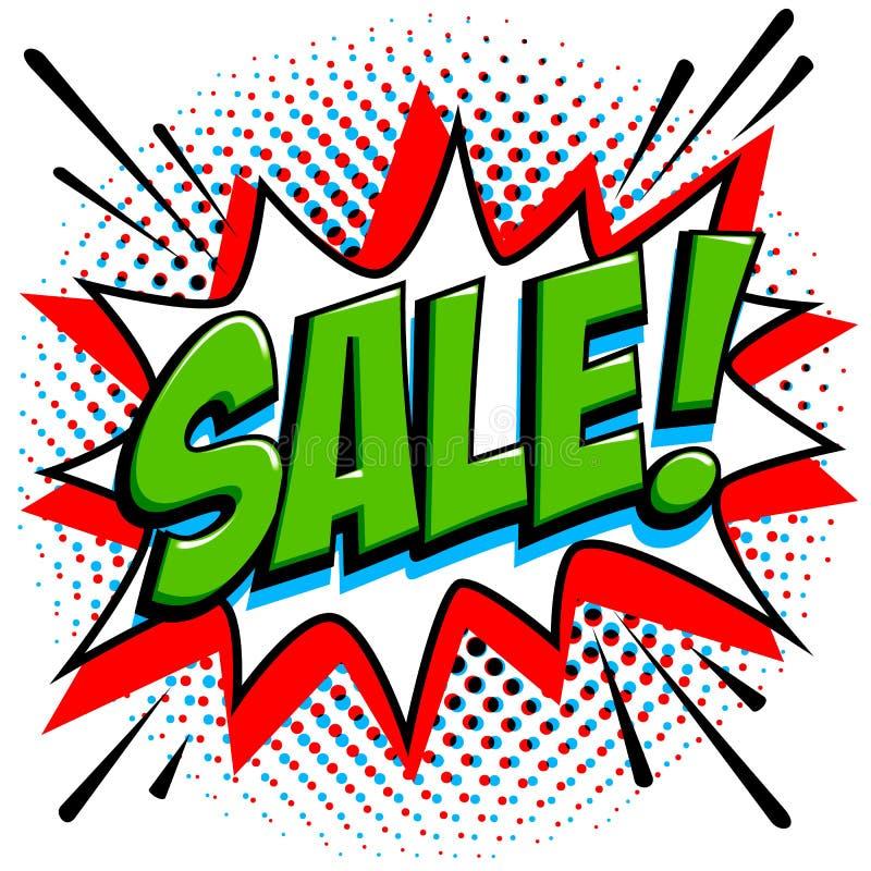 Etiqueta da venda do estilo da banda desenhada Bandeira verde da Web da venda Bandeira cômica da promoção do disconto da venda do ilustração royalty free