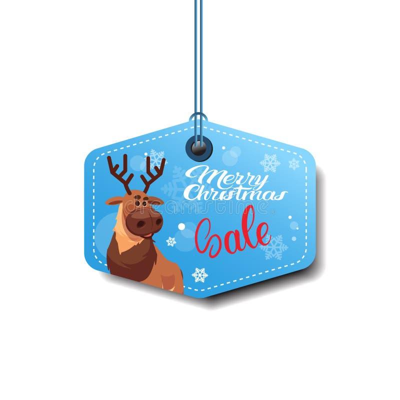 Etiqueta da venda do Feliz Natal com a etiqueta da compra do feriado da rena isolada no fundo branco ilustração royalty free